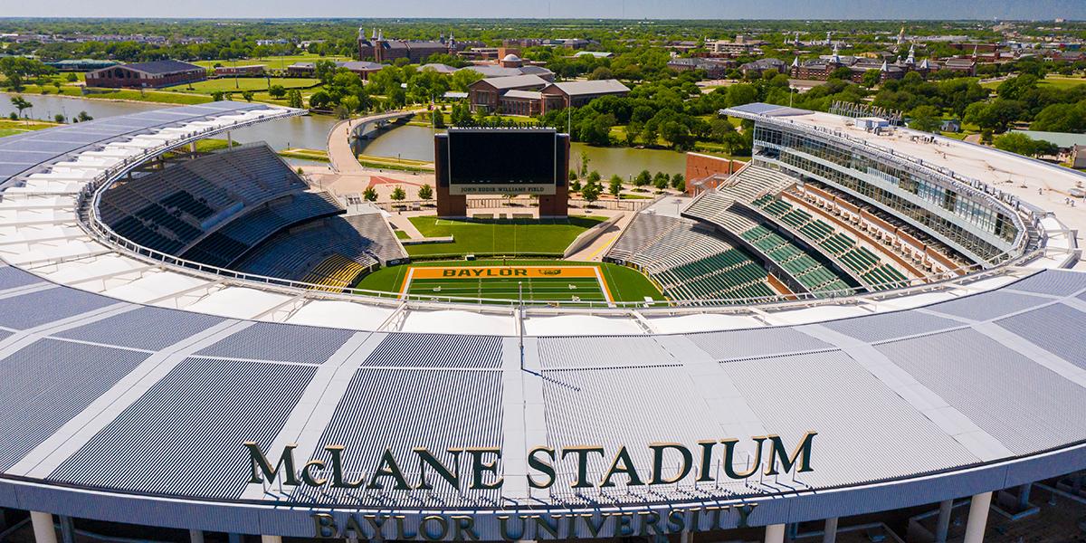 McLane Stadium aerial photo over the Brazos River